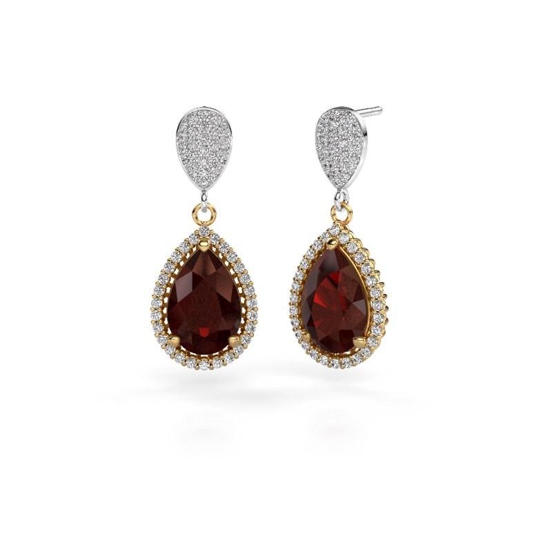 Drop earrings Cheree 2 585 gold garnet 12x8 mm