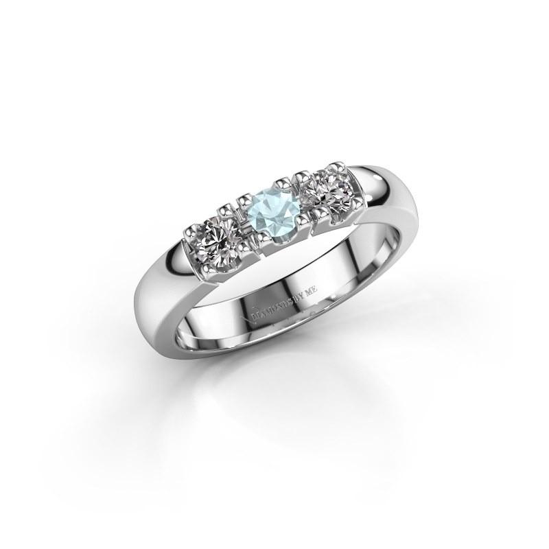 Engagement ring Rianne 3 950 platinum aquamarine 3.4 mm
