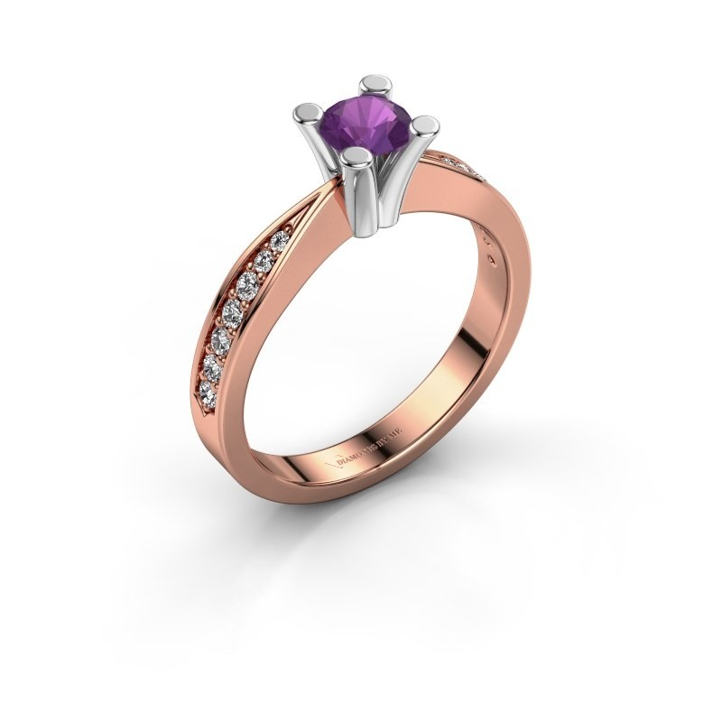 Promise ring Ichelle 2 585 rosé goud amethist 4.7 mm