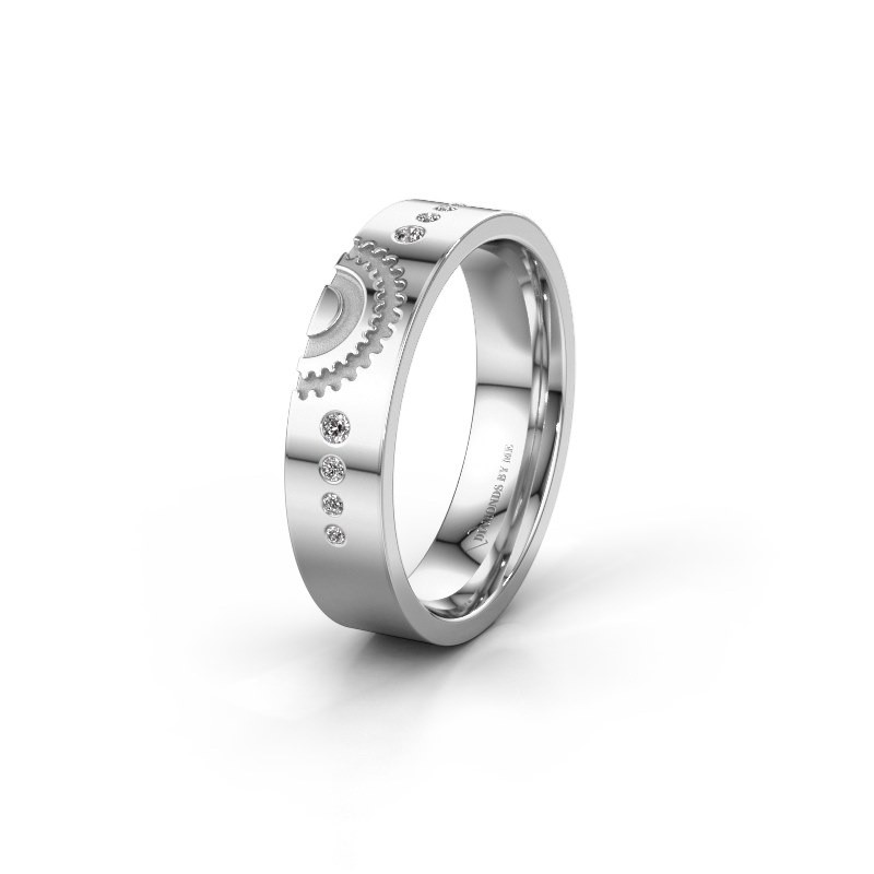 Trouwring WH2116L25A 375 witgoud lab-grown diamant ±5x1.7 mm