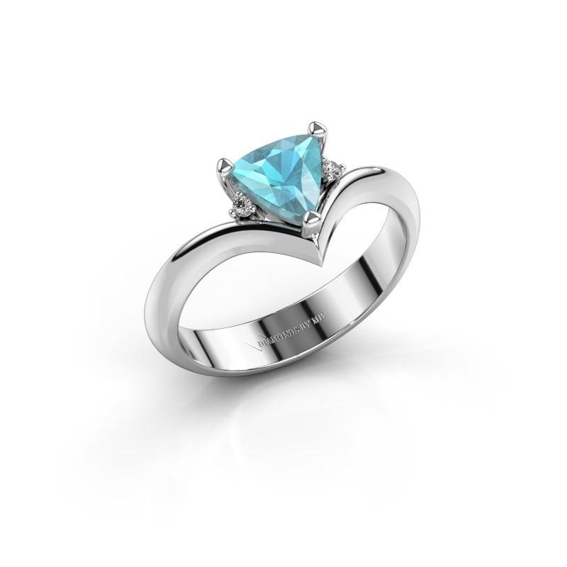 Ring Arlette 950 platina blauw topaas 7 mm