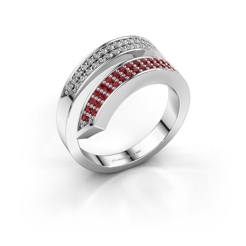 Ring Pien 950 platina robijn 1.2 mm