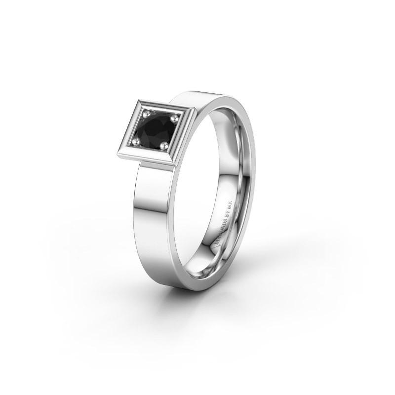 Trouwring WH2112L14A 585 witgoud zwarte diamant ±4x1.7 mm