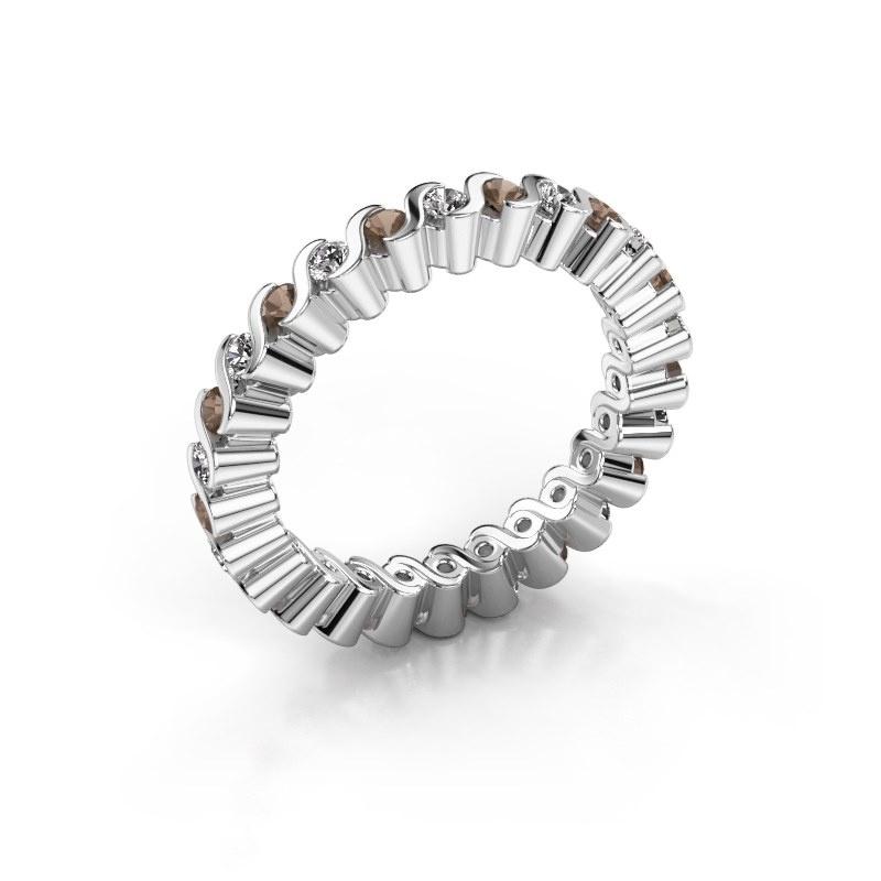 Stackable ring Faye 585 white gold smokey quartz 2 mm