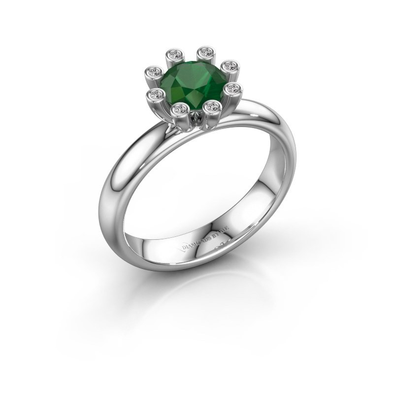 Stapelring Carola 3 950 platina smaragd 6 mm