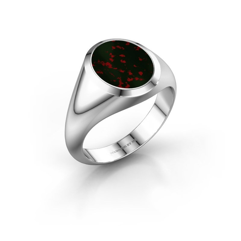 Signet ring Evon 2 375 white gold bloodstone 12x10 mm