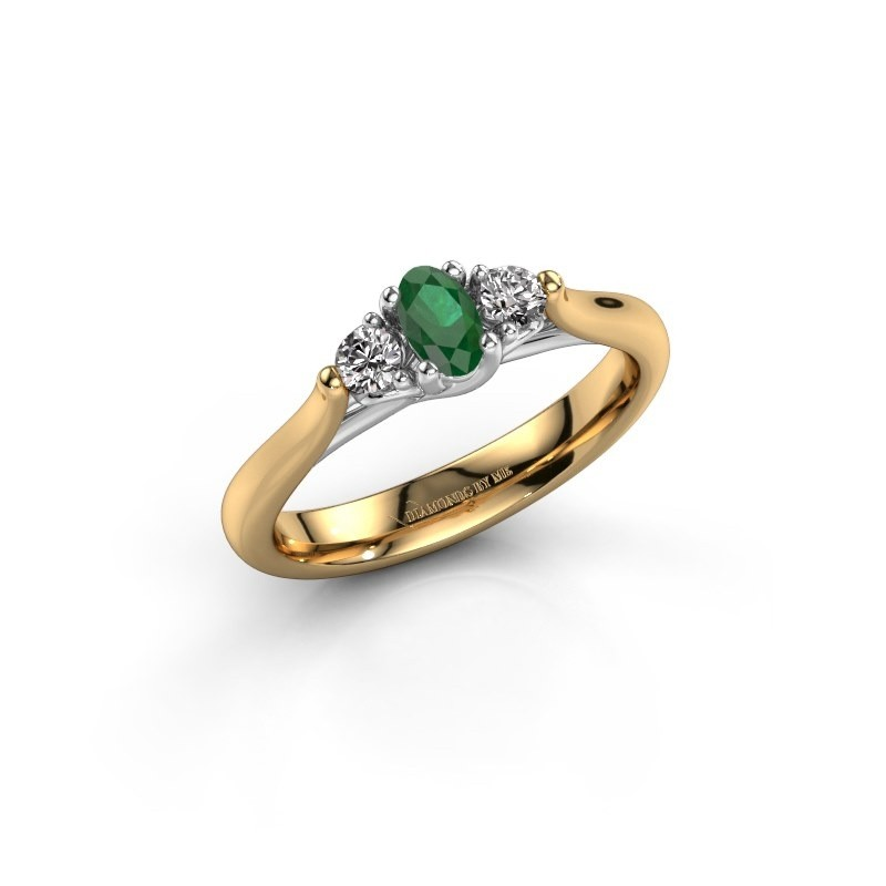 Verlovingsring Jente OVL 585 goud smaragd 5x3 mm