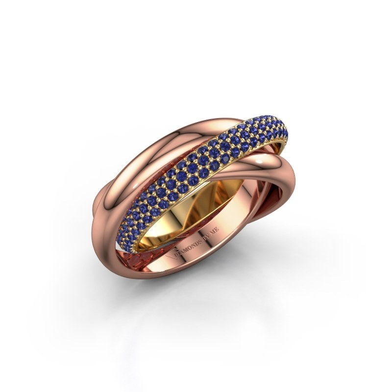 Ring Trinity 2 585 goud saffier 1 mm