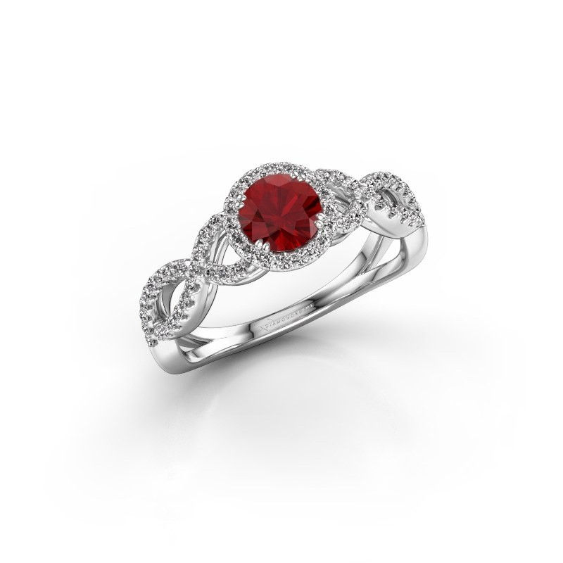 Engagement ring Dionne rnd 925 silver ruby 5 mm