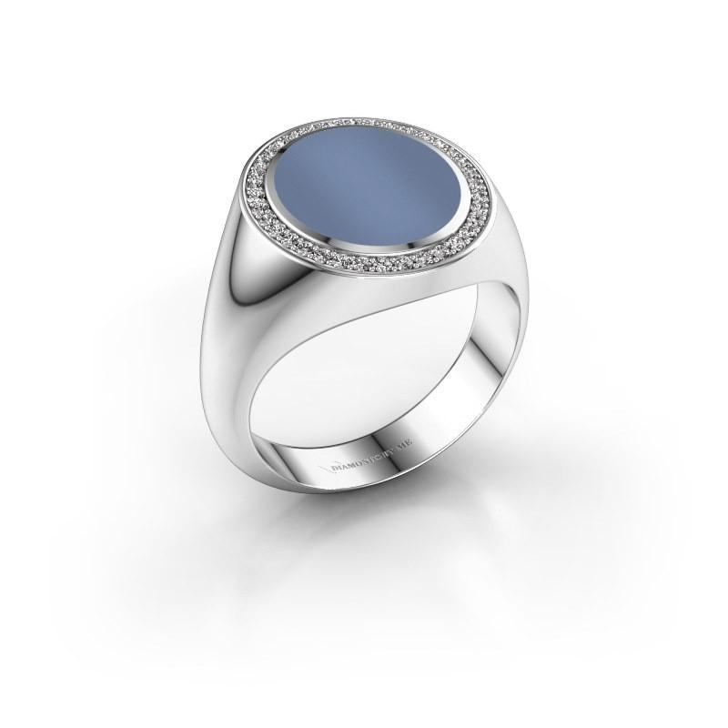 Zegel ring Adam 3 375 witgoud licht blauwe lagensteen 13x11 mm