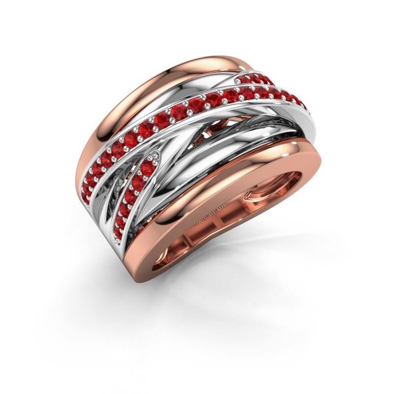 Ring Clair 3 585 rosé goud robijn 1.5 mm