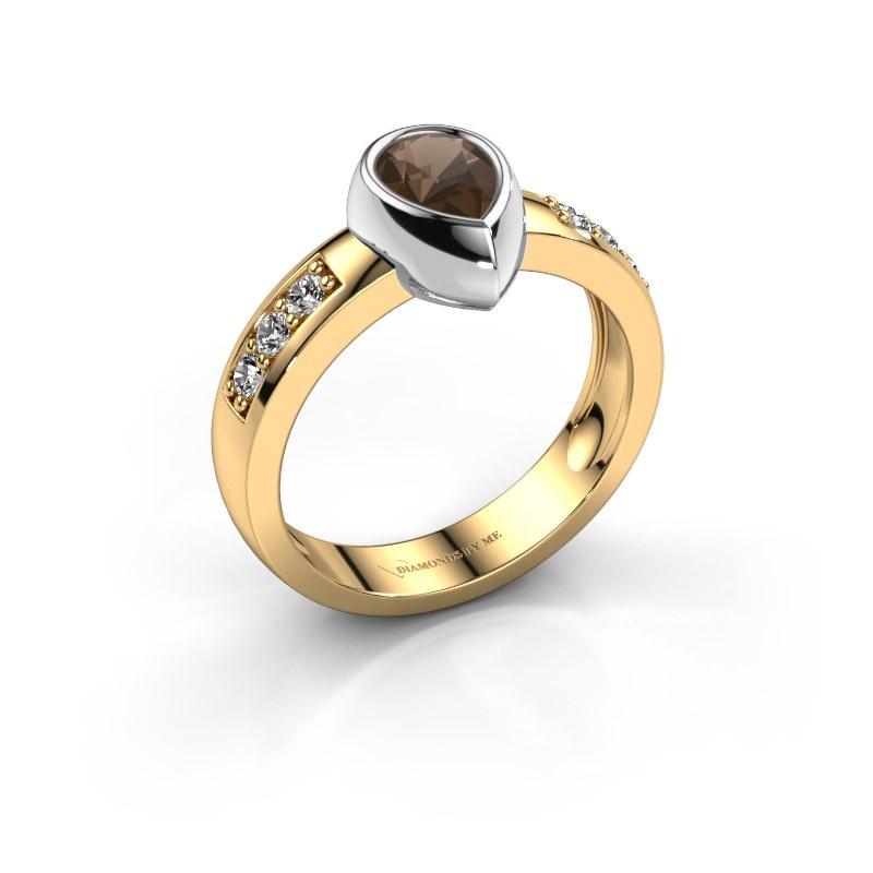 Ring Charlotte Pear 585 gold smokey quartz 8x5 mm
