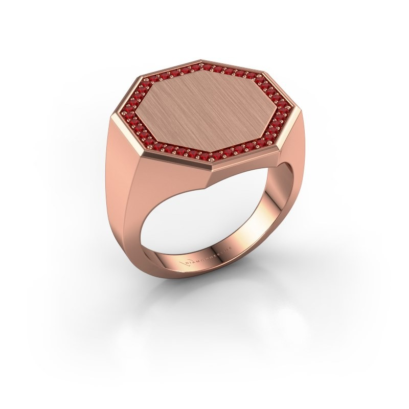 Heren ring Floris Octa 4 375 rosé goud robijn 1.2 mm