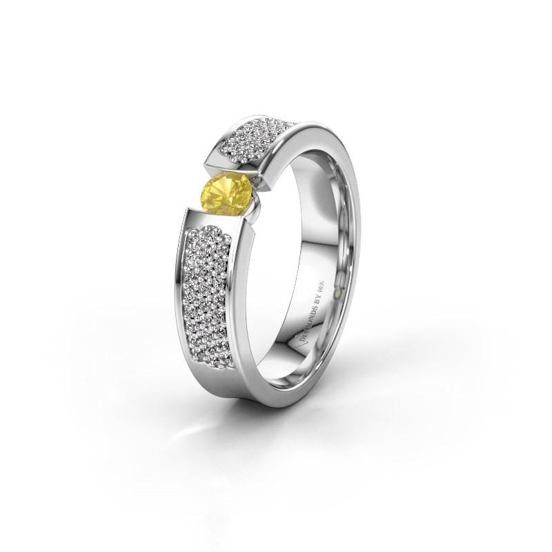 Trouwring WH2100L 925 zilver gele saffier ±5x3 mm