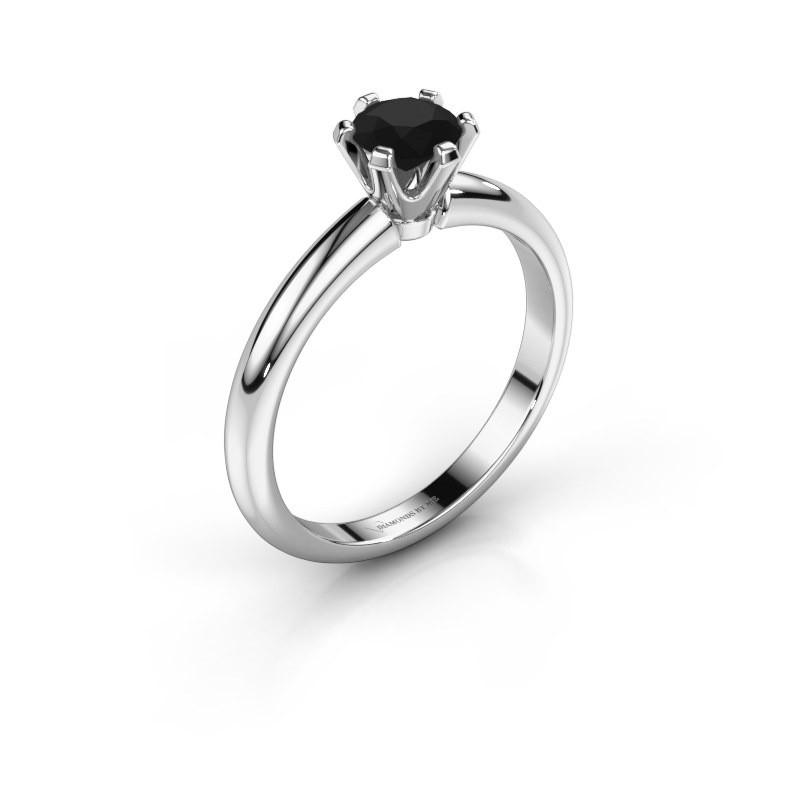 Verlovingsring Tiffy 1 585 witgoud zwarte diamant 0.60 crt