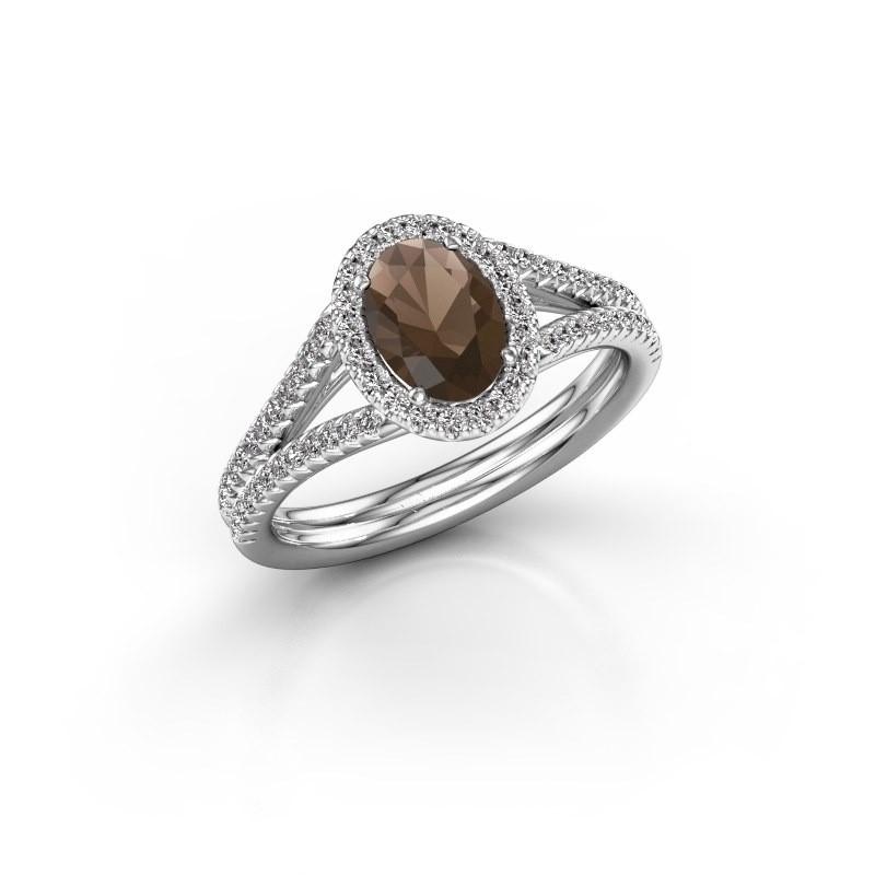 Engagement ring Rachele 2 585 white gold smokey quartz 7x5 mm