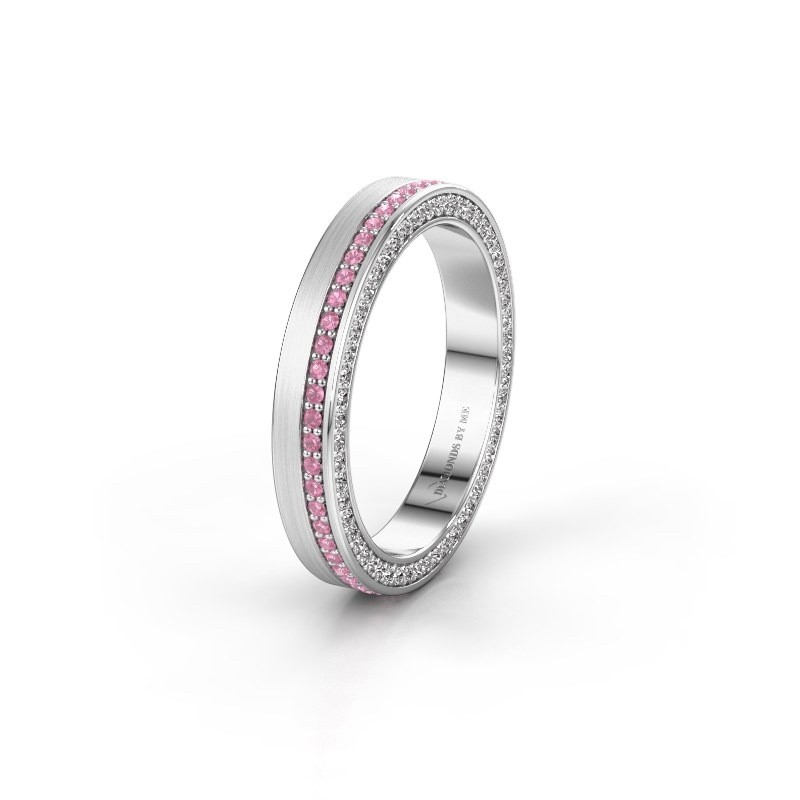 Wedding ring WH2214L15BM 925 silver pink sapphire 1 mm ±5x2 mm