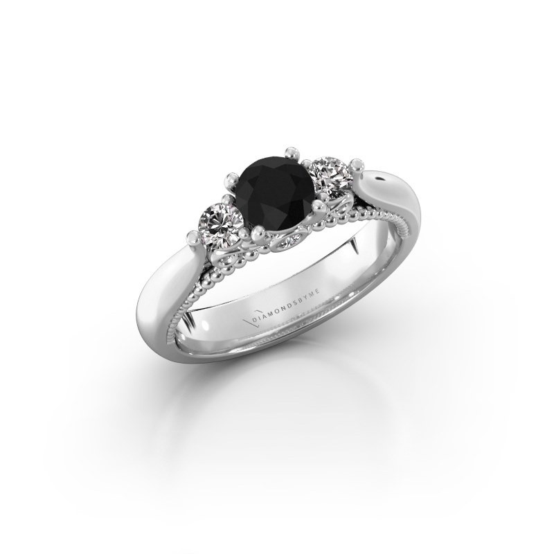 Verlovingsring Tiffani 585 witgoud zwarte diamant 0.84 crt