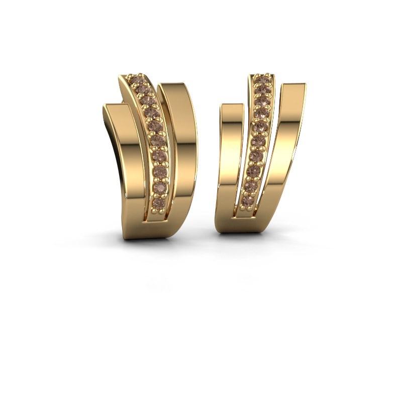 Oorbellen Emeline 585 goud bruine diamant 0.20 crt