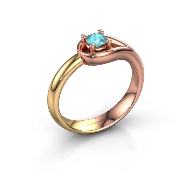 Ring Fabienne 585 rosé goud blauw topaas 4 mm