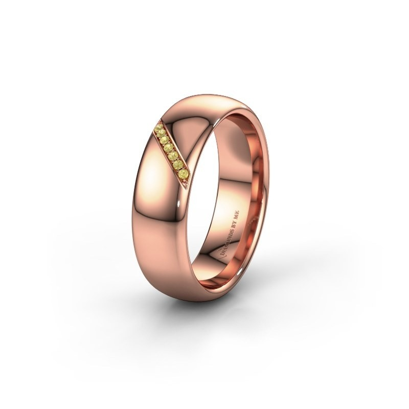 Wedding ring WH0164L36B 375 rose gold yellow sapphire ±0.24x0.08 in