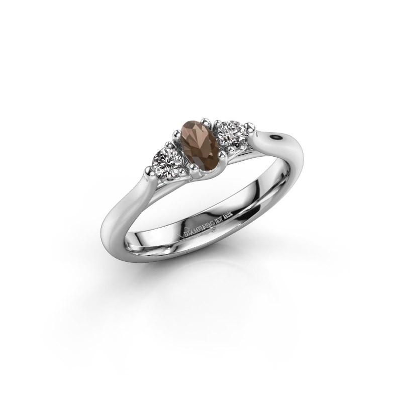 Engagement ring Jente OVL 950 platinum smokey quartz 5x3 mm