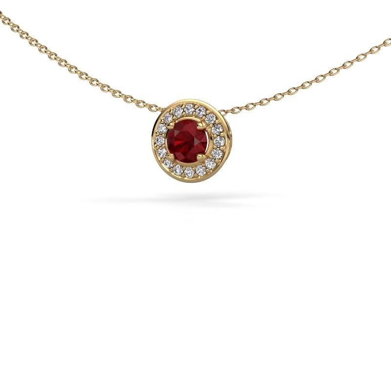 Hanger Agaat 375 goud robijn 5 mm