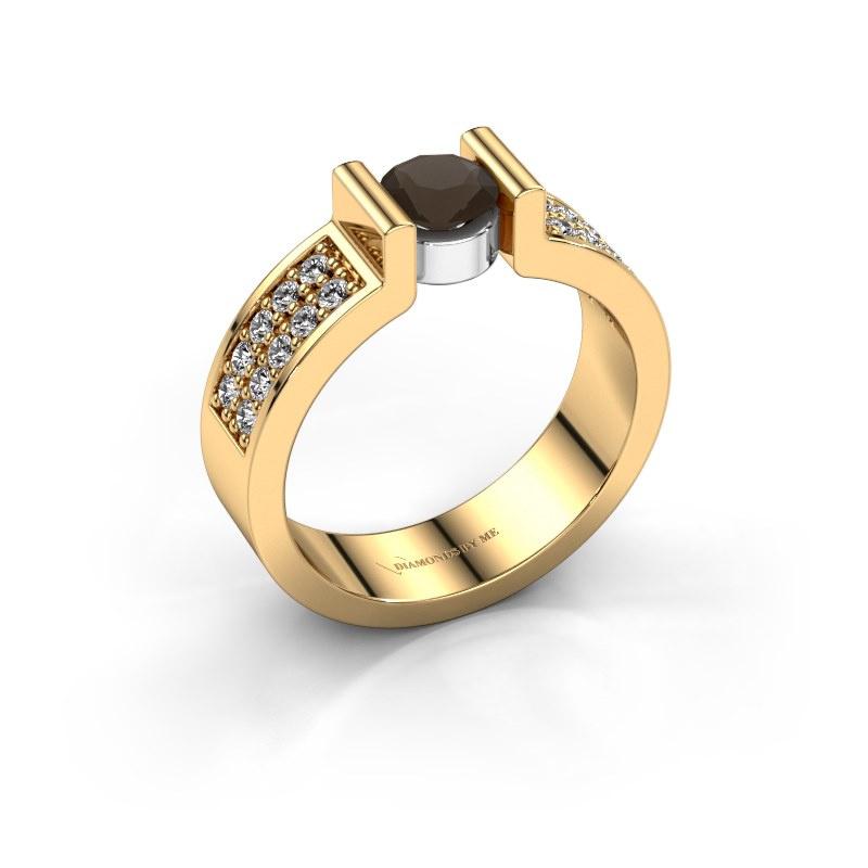 Engagement ring Isabel 3 585 gold smokey quartz 5 mm