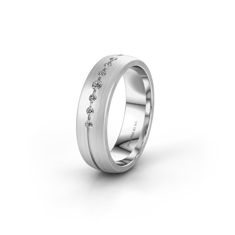Trouwring WH0162L25A 375 witgoud diamant ±5,5x1.7 mm