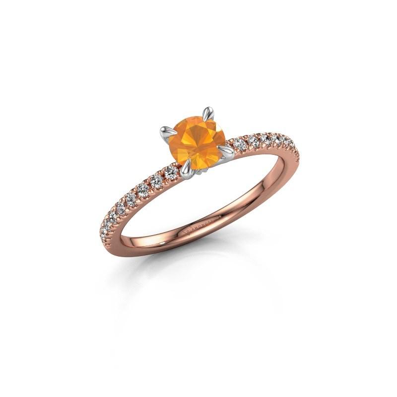Verlovingsring Crystal rnd 2 585 rosé goud citrien 5 mm