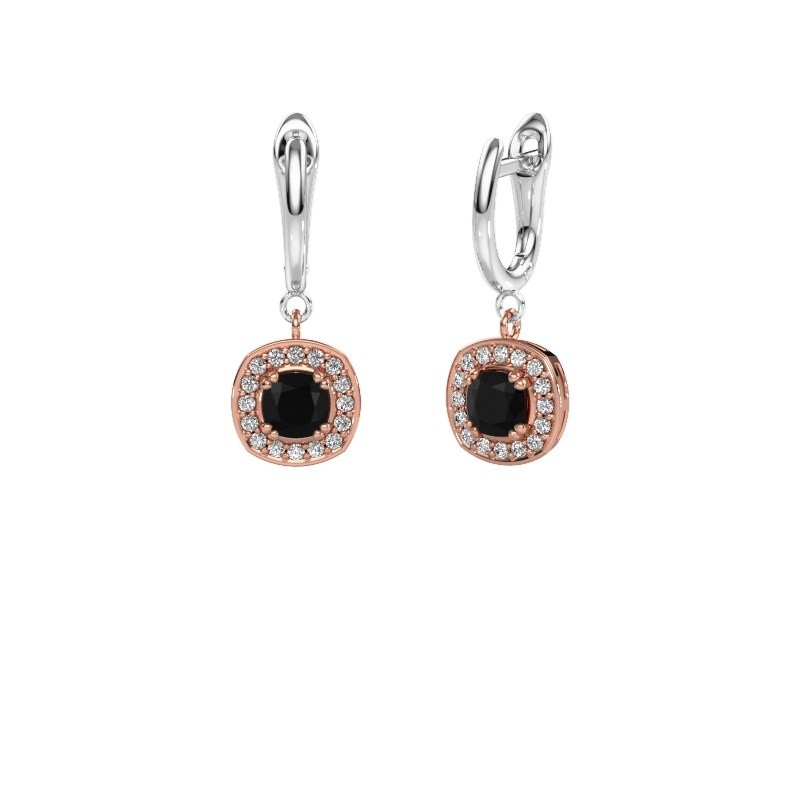 Drop earrings Marlotte 1 585 rose gold black diamond 0.60 crt
