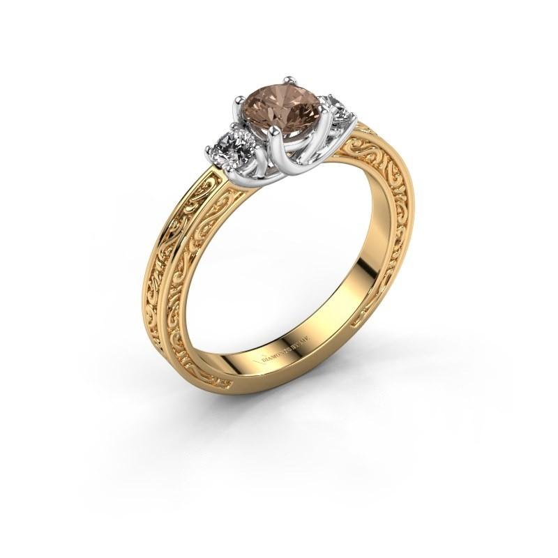 Verlovingsring Betty 1 585 goud bruine diamant 0.70 crt
