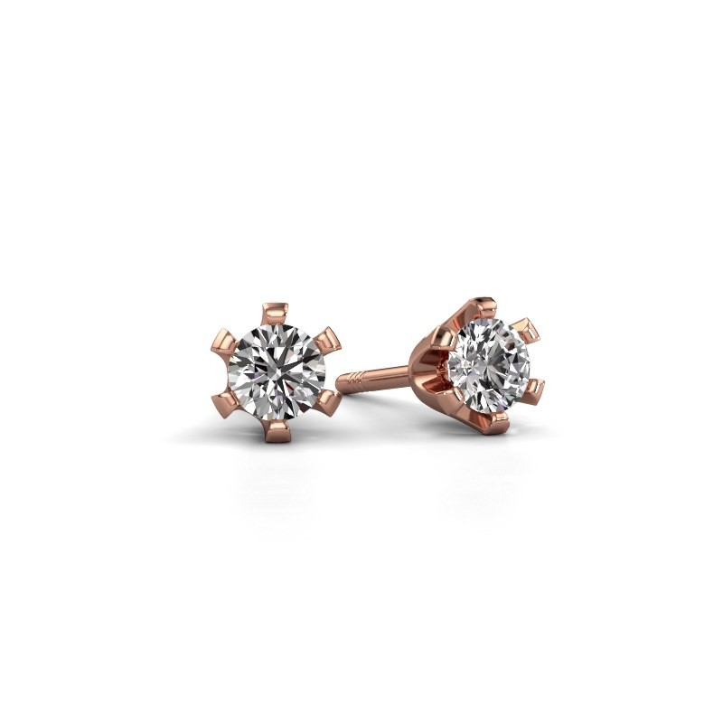 Stud earrings Shana 375 rose gold zirconia 4 mm