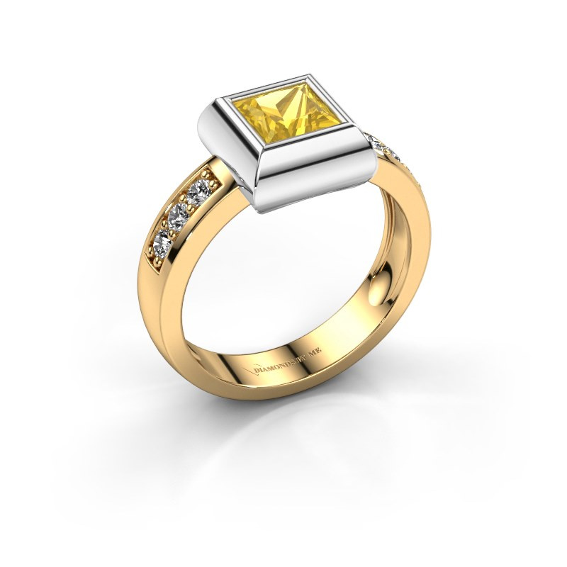 Ring Charlotte Square 585 gold yellow sapphire 5 mm
