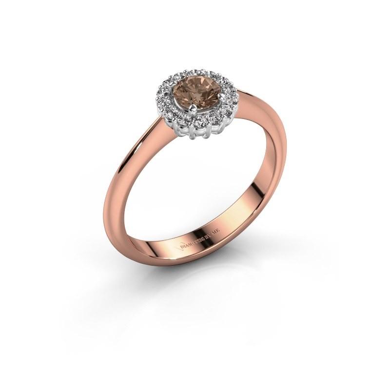 Verlovingsring Anca 585 rosé goud bruine diamant 0.30 crt