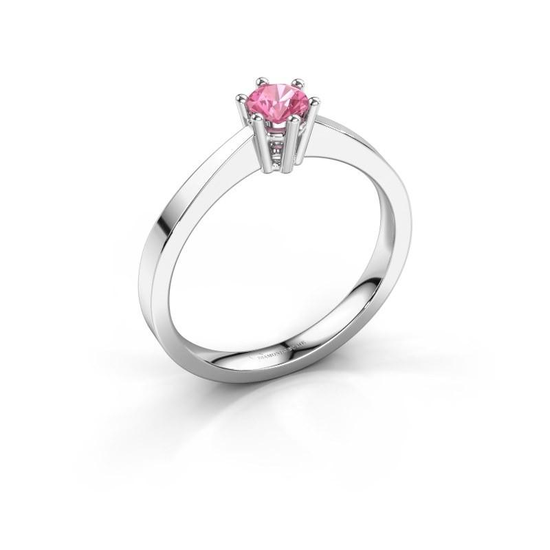Verlobungsring Noortje 585 Weißgold Pink Saphir 4 mm