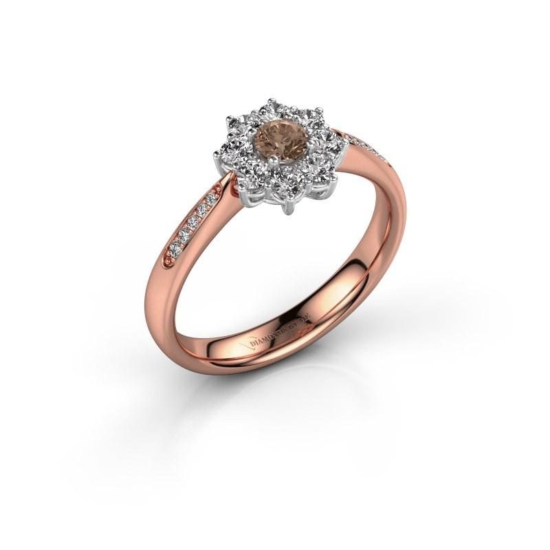 Verlovingsring Carolyn 2 585 rosé goud bruine diamant 0.15 crt