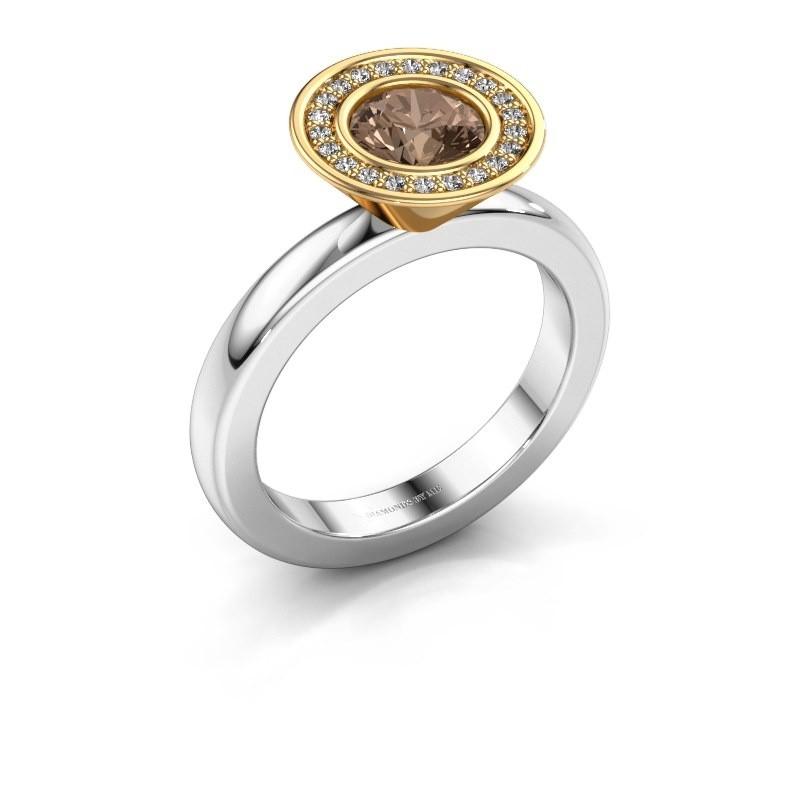 Stacking ring Danille 585 white gold brown diamond 0.91 crt