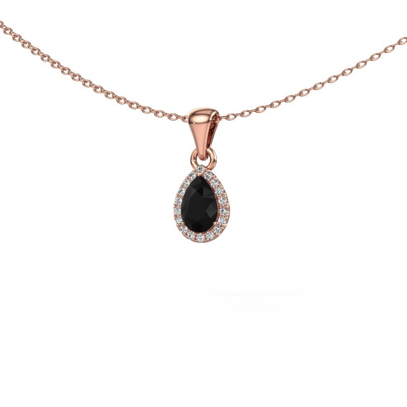 Halskette Seline per 375 Roségold Schwarz Diamant 0.54 crt