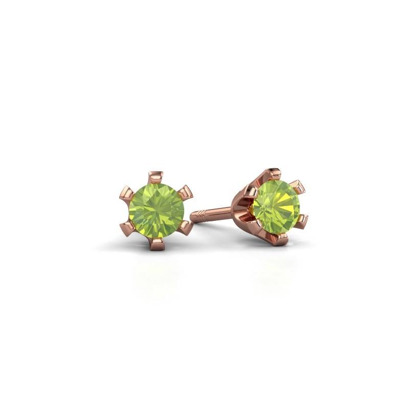 Stud earrings Shana 375 rose gold peridot 4 mm