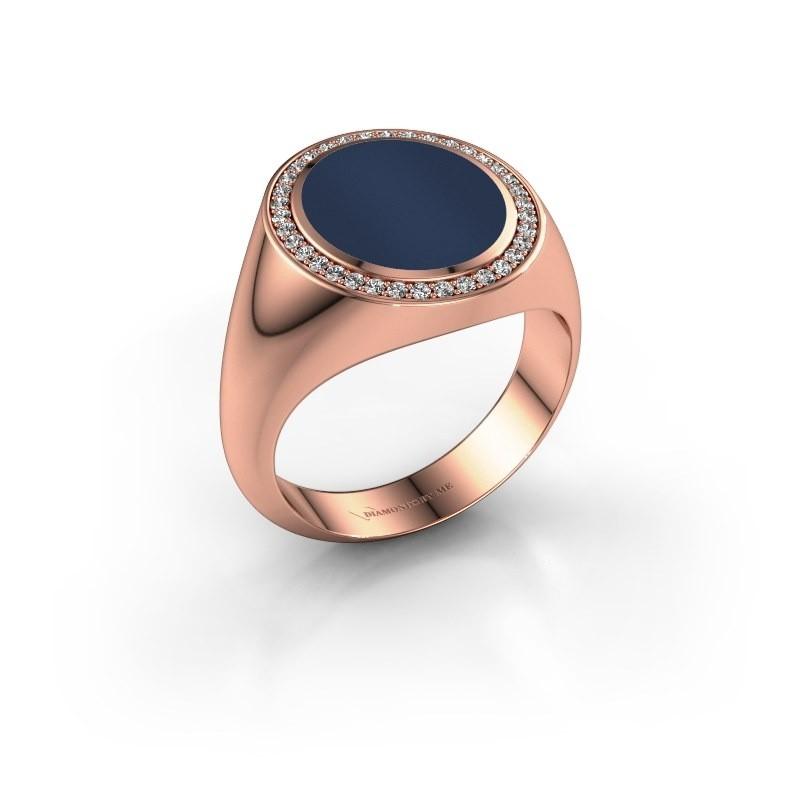Zegel ring Adam 3 375 rosé goud donker blauw lagensteen 13x11 mm