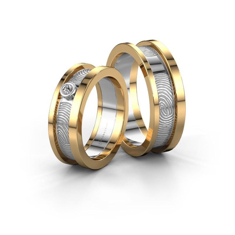Wedding rings set WHR0427LM ±6x2 mm 14 Carat gold diamond 0.06 crt
