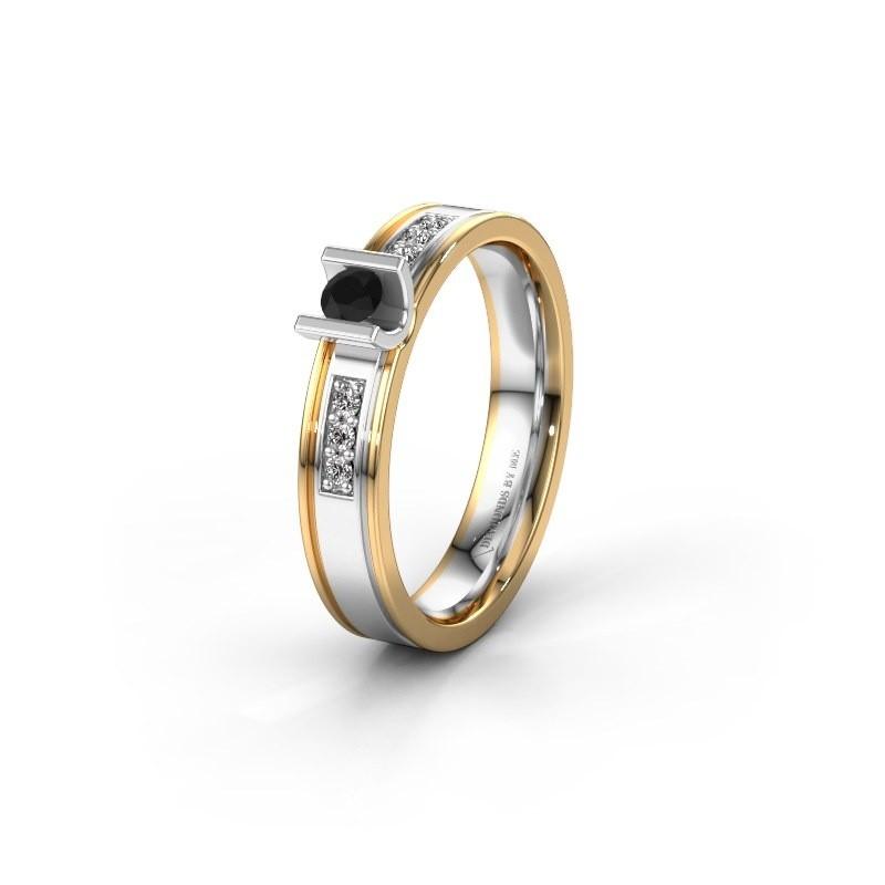 Trouwring WH2108L14A 585 witgoud zwarte diamant ±4x1.7 mm
