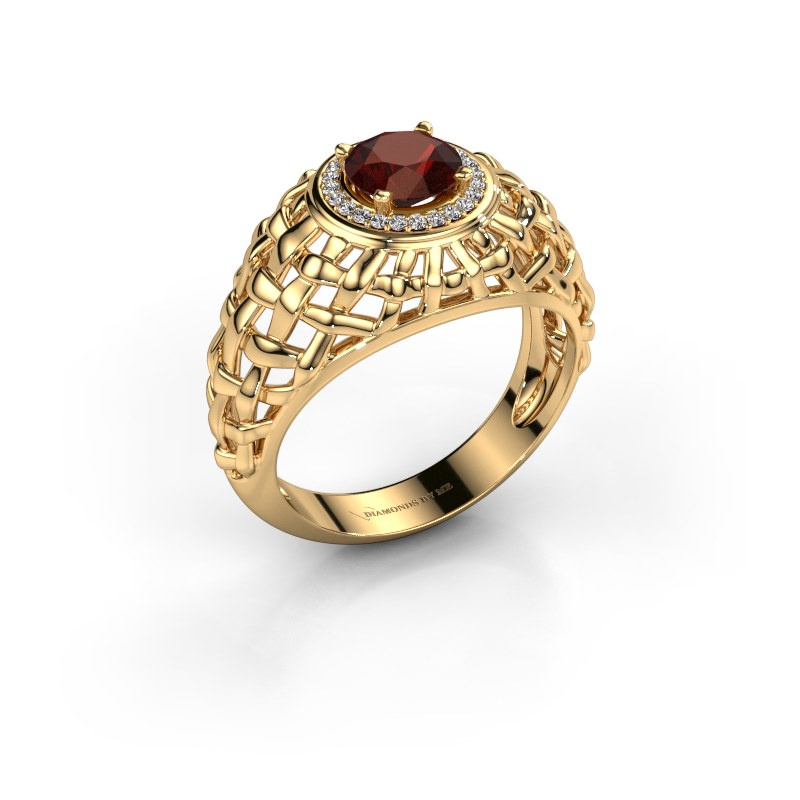 Pinky Ring Jens 585 Gold Granat 6.5 mm