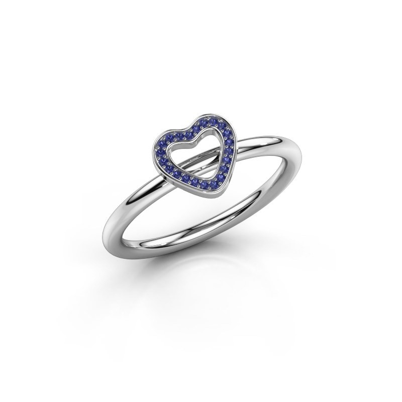 Ring Shape heart small 375 witgoud saffier 0.8 mm
