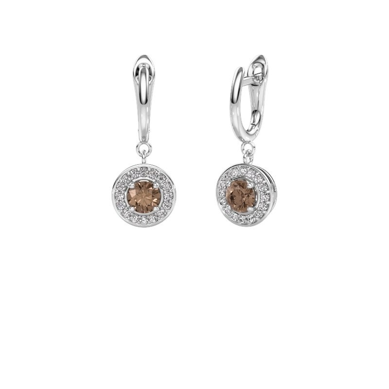 Drop earrings Ninette 1 950 platinum brown diamond 1.384 crt