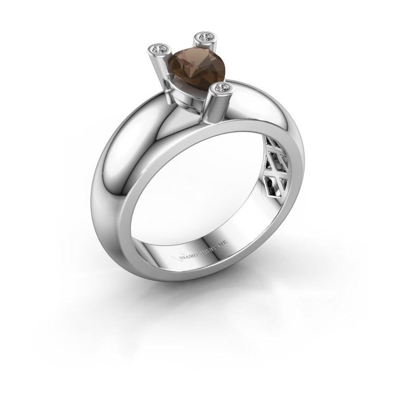 Ring Cornelia Pear 585 white gold smokey quartz 7x5 mm