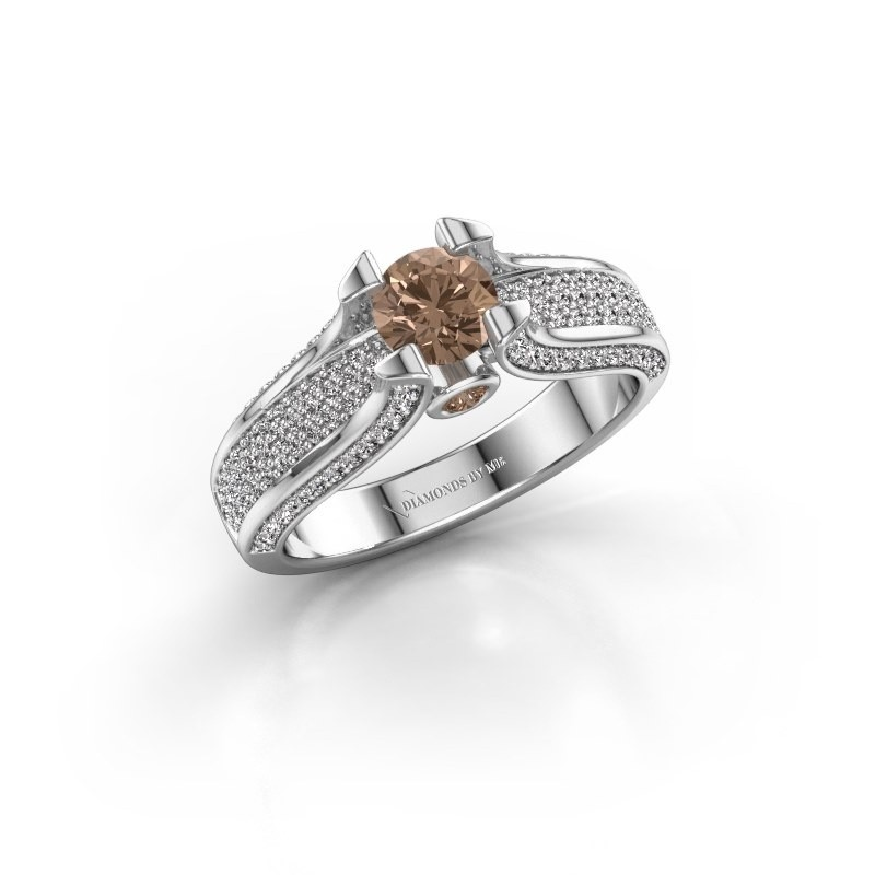 Verlovingsring Jeanne 2 950 platina bruine diamant 1.026 crt