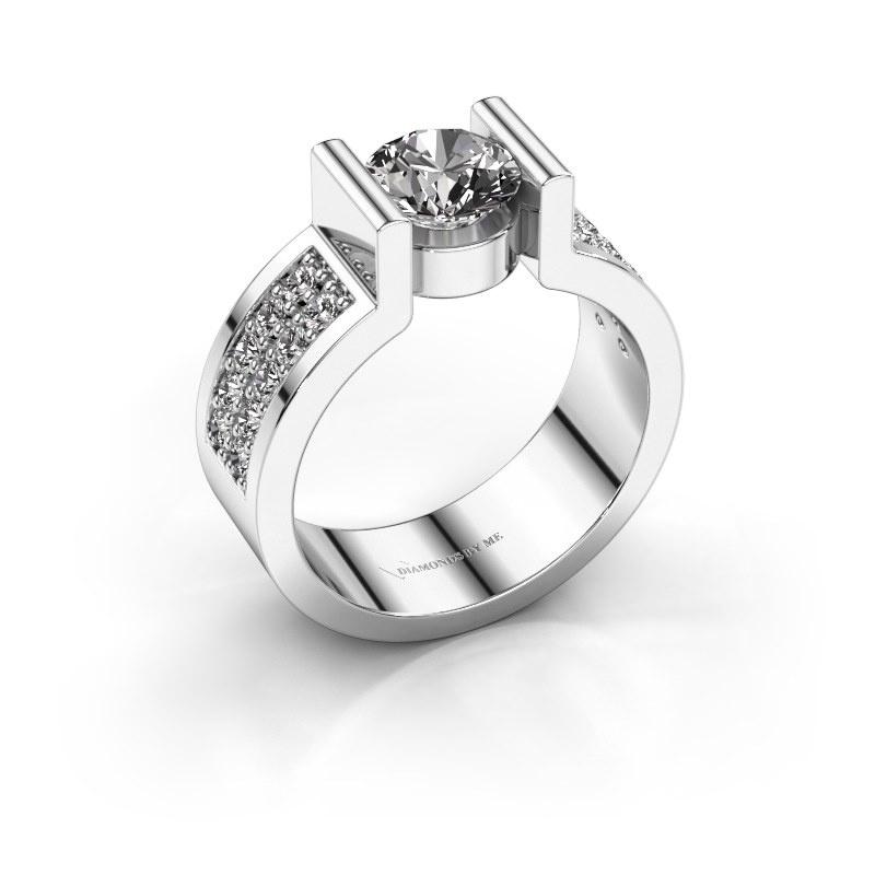 Engagement ring Isabel 3 925 silver diamond 1.40 crt