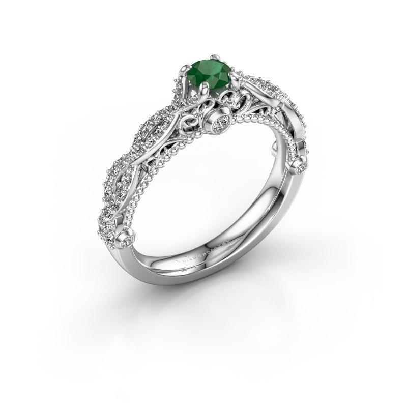 Verlovingsring Chantelle 585 witgoud smaragd 4 mm